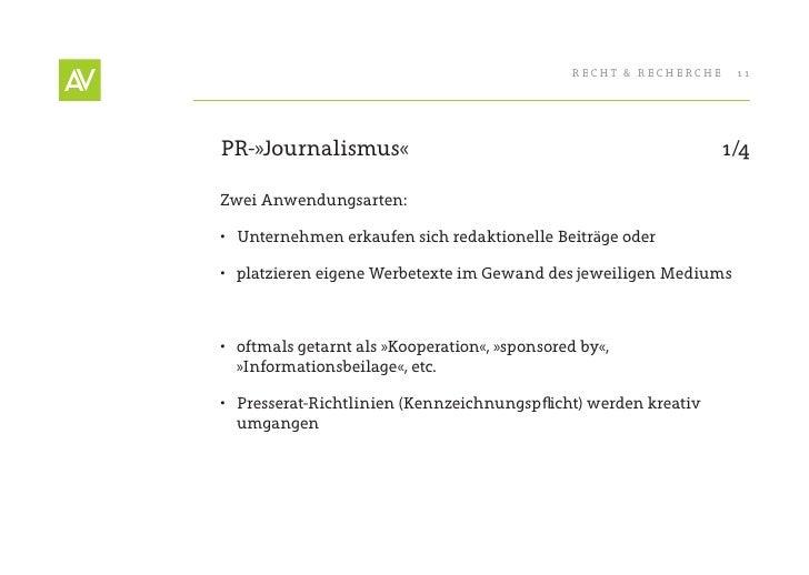 RecHt & RecHeRcHe    11     PR-»Journalismus«                                                  1/4  Zwei Anwendungsarten: ...