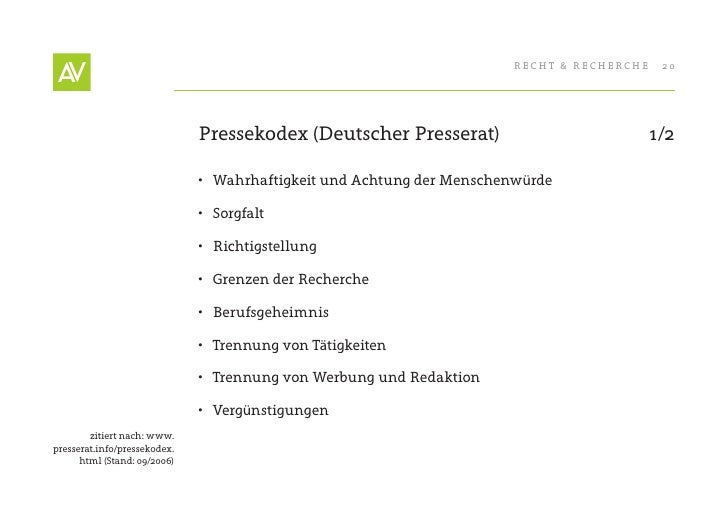 RecHt & RecHeRcHe    20                                   Pressekodex (Deutscher Presserat)                            1/2...