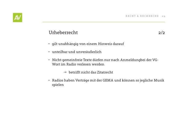 RecHt & RecHeRcHe   29     Urheberrecht                                                  2/2  • gilt unabhängig von einem...