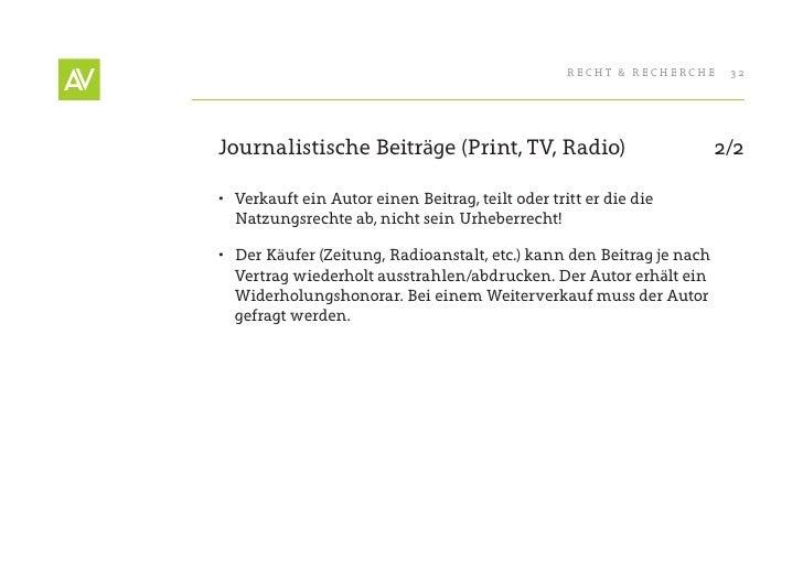 RecHt & RecHeRcHe    32     Journalistische Beiträge (Print, tV, Radio)                            2/2  • Verkauft ein Au...