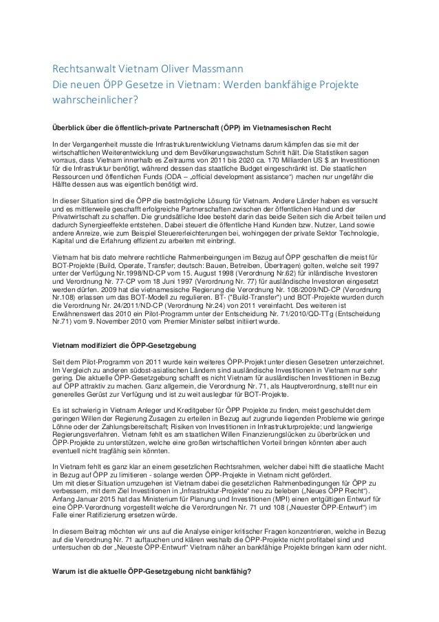 Rechtsanwalt Vietnam Oliver Massmann Die neuen ÖPP Gesetze in Vietnam: Werden bankfähige Projekte wahrscheinlicher? Überbl...