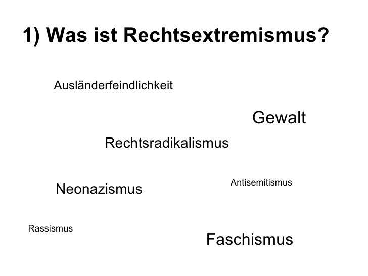 1) Was ist Rechtsextremismus?   Ausländerfeindlichkeit Faschismus Neonazismus Gewalt Rechtsradikalismus Rassismus Antisemi...