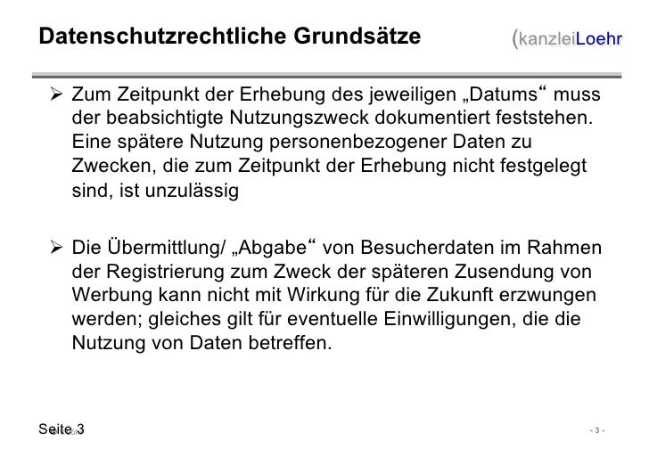 IMEX 2011: Vortrag von Volker Löhr: Rechtsfallen im Datenschutz bei Veranstaltungen Slide 3