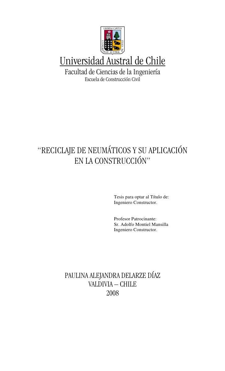 """Universidad Austral de Chile       Facultad de Ciencias de la Ingeniería              Escuela de Construcción Civil""""RECICL..."""
