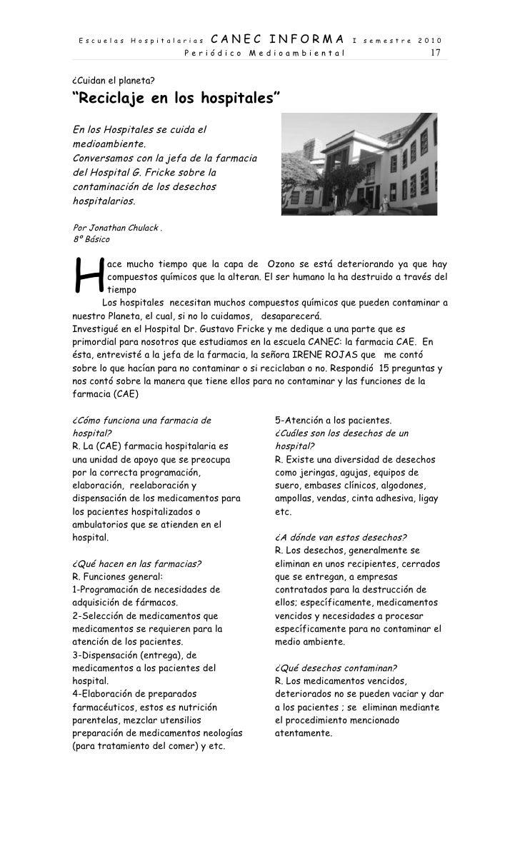Escuelas     Hospitalarias    CANEC INFORMA                    I   semestre    2010                          Periódico Med...