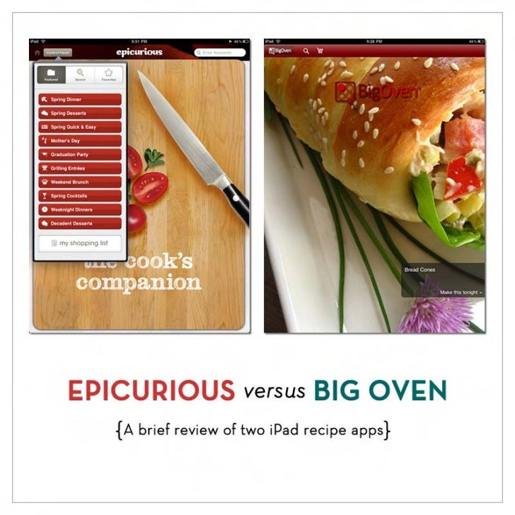 EPICURIOUS versus BIG OVEN   { A brief review of two iPad recipe apps}