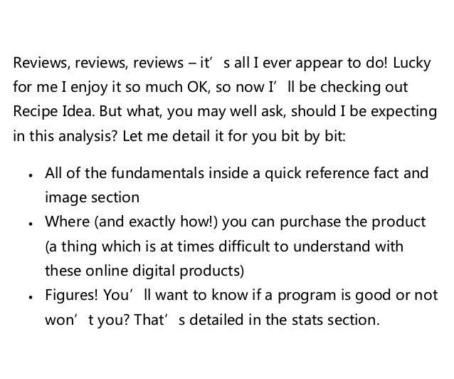 Recipe idea review Slide 2