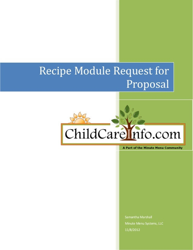 Recipe Module Request for                Proposal                Samantha Marshall                Minute Menu Systems, LLC...