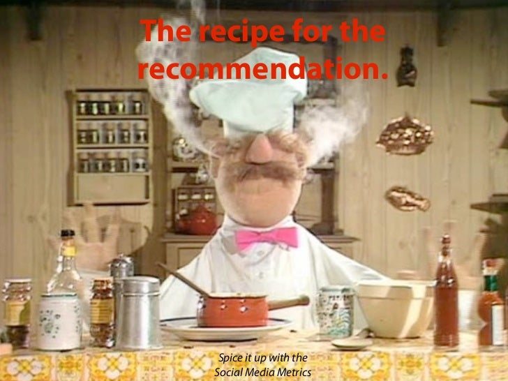 The recipe for therecommendation.      Spice it up with the     Social Media Metrics