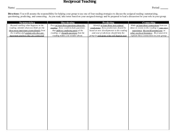 This sheet is great for practicing the reciprocal teaching ...