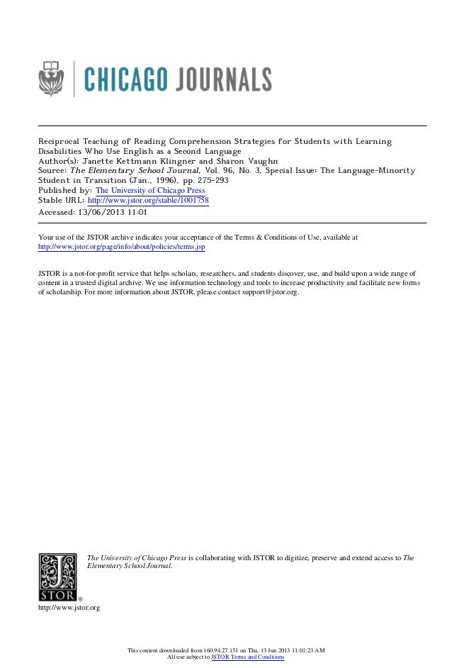 Reciprocal Teaching of Reading Comprehension Strategies for Students with LearningDisabilities Who Use English as a Second...