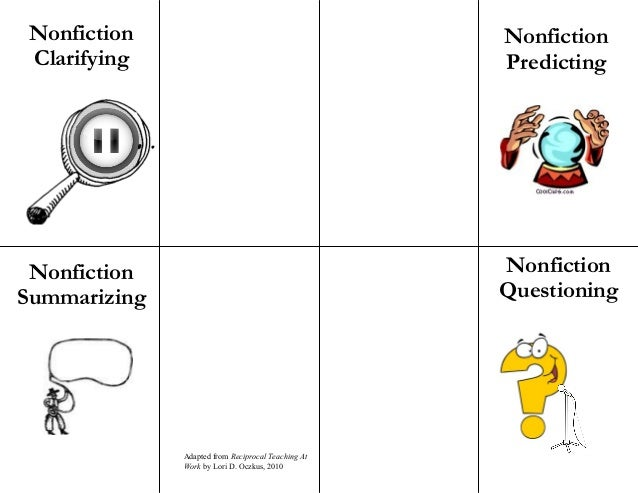 Nonfiction Clarifying Nonfiction Predicting Nonfiction Questioning Nonfiction Summarizing Adapted from Reciprocal Teaching...