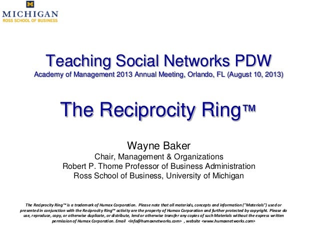 Teaching Social Networks PDW Academy of Management 2013 Annual Meeting, Orlando, FL (August 10, 2013) The Reciprocity Ring...