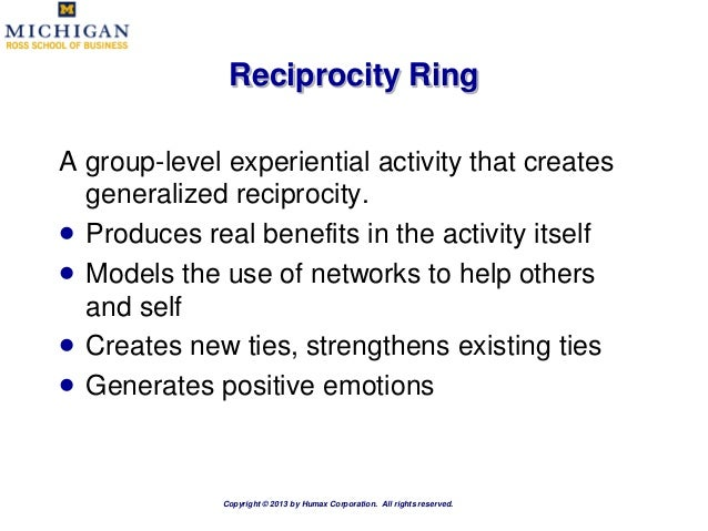 generalized reciprocity and the limits of generosity Generalized reciprocity is driven in the counterfeit coin of its dream, an offering that maintains the superficial form of pure something-for-nothing generosity.