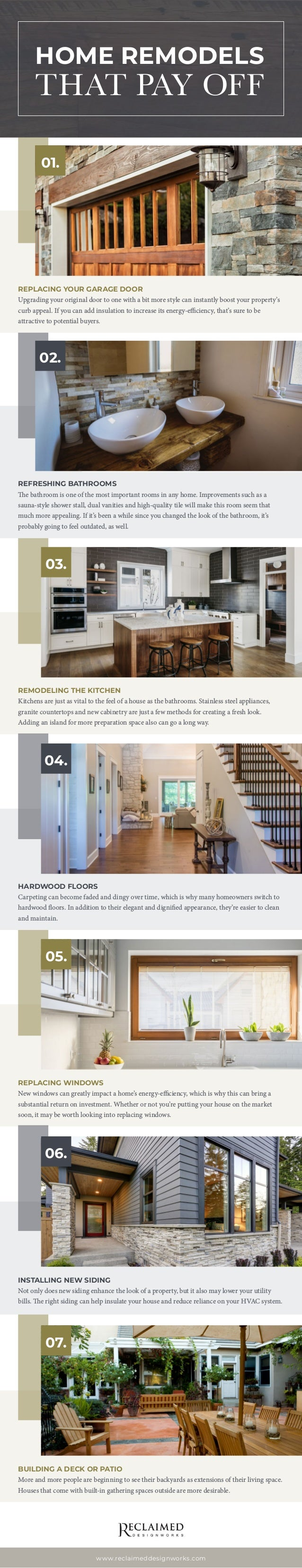 home remodels that pay off infographic