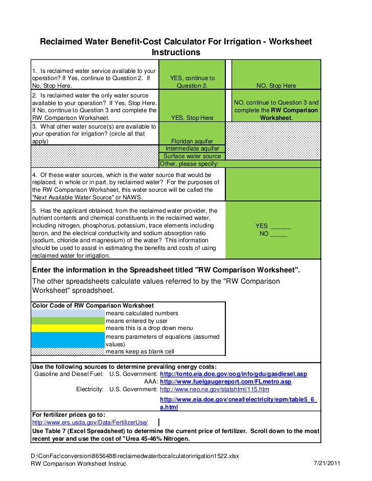 Reclaimed Water Benefit-Cost Calculator For Irrigation - Worksheet                             Instructions1. Is reclaimed...