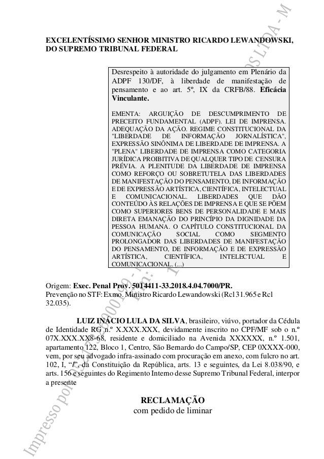 EXCELENTÍSSIMO SENHOR MINISTRO RICARDO LEWANDOWSKI, DO SUPREMO TRIBUNAL FEDERAL Origem: Exec. Penal Prov. 5014411-33.2018....