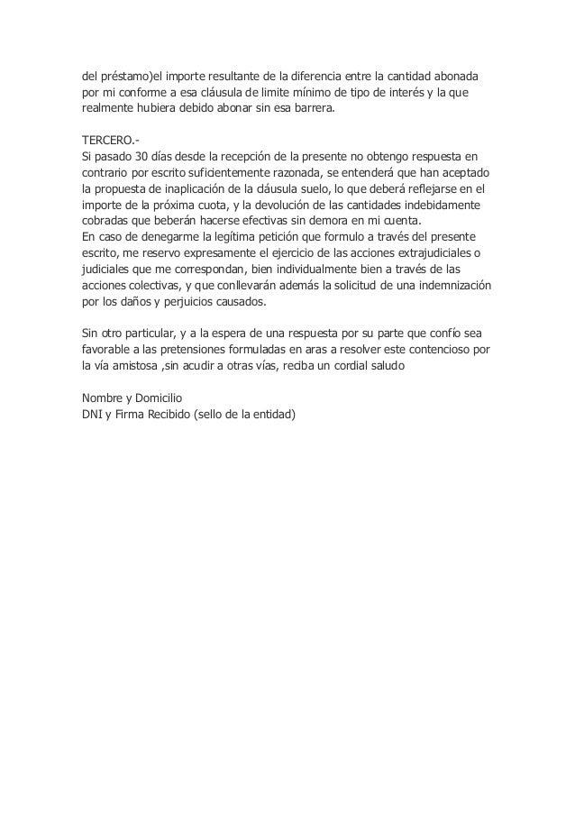 Modelo reclamacion importe gastos de formalizacion for Reclamar importe clausula suelo
