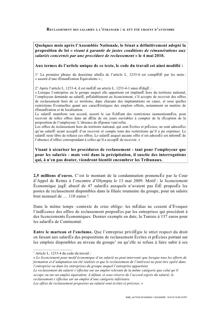 RECLASSEMENT DES SALARIÉS À L'ÉTRANGER : IL EÛT ÉTÉ URGENT D'ATTENDRE       Quelques mois après l'Assemblée Nationale, le ...