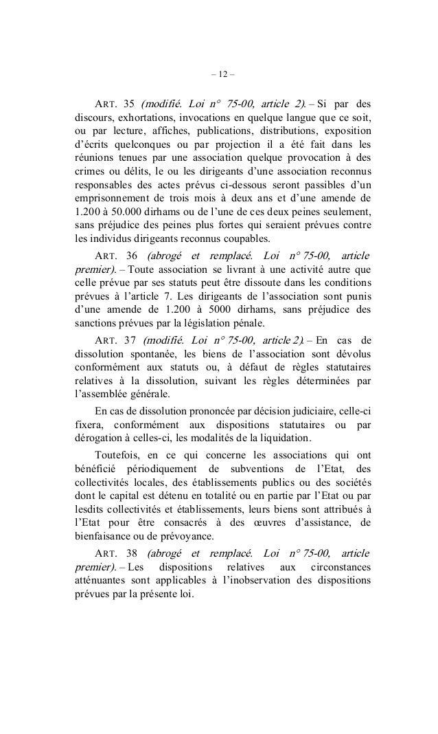 DAHIR DROIT D'ASSOCIATION - Maroc