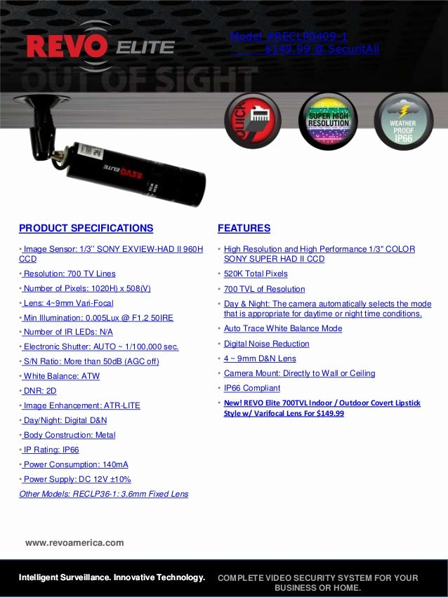 Model #RECLP0409-1                                                            $149.99 @ SecuritAllPRODUCT SPECIFICATIONS  ...