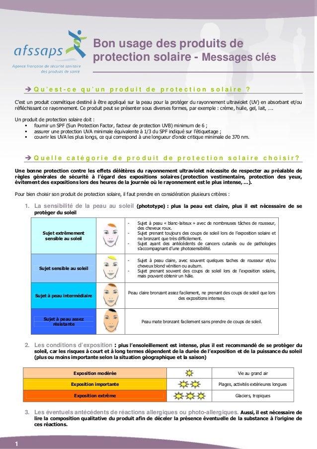 Bon usage des produits de                                      protection solaire - Messages clés         Qu'est-ce qu'un ...