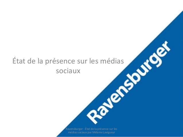 État de la préseRnacveesunrslebsu mrégdeiars  sociaux  Ravensburger - État de la présence sur les  médias sociaux par Méla...