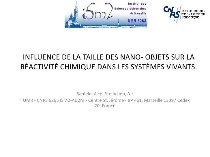 InFLuence de la taille des Nano- objets sur la réactivité chimique dans les systèmes vivants.<br />Sanfeld, A.1et Steinche...