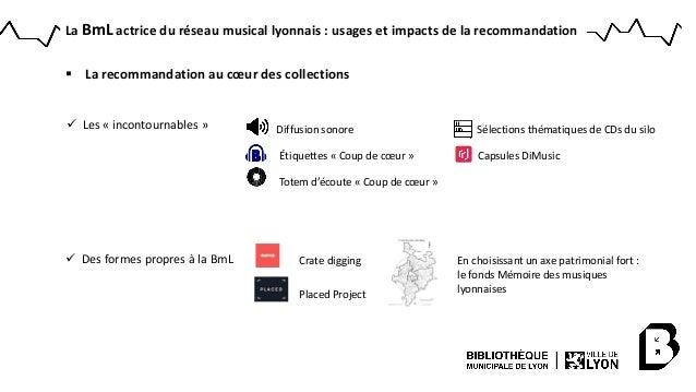  La recommandation au cœur des collections Crate digging Des formes propres à la BmL Placed Project En choisissant un ax...