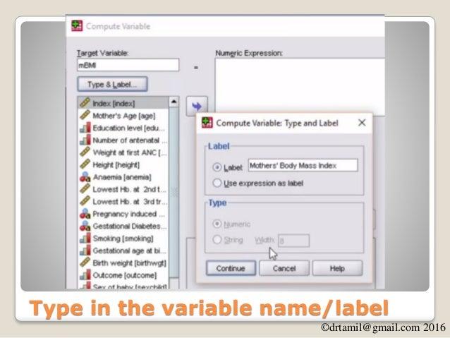 ©drtamil@gmail.com 2016 New variable mBMI created