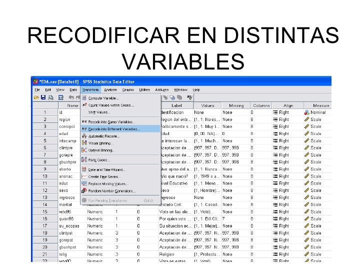RECODIFICAR EN DISTINTAS VARIABLES