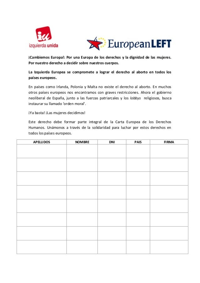 ¡Cambiemos Europa!: Por una Europa de los derechos y la dignidad de las mujeres. Por nuestro derecho a decidir sobre nuest...