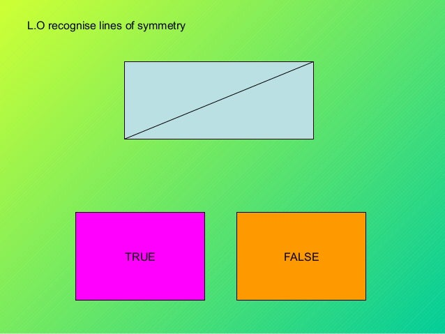 L.O recognise lines of symmetry  TRUE  FALSE