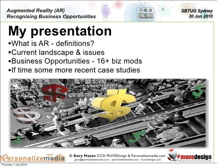 Augmented Reality (AR)                                                                       SBTUG Sydney     Recognising ...