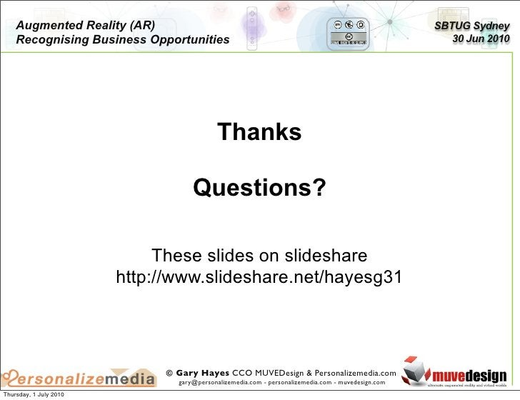 Augmented Reality (AR)                                                                         SBTUG Sydney     Recognisin...
