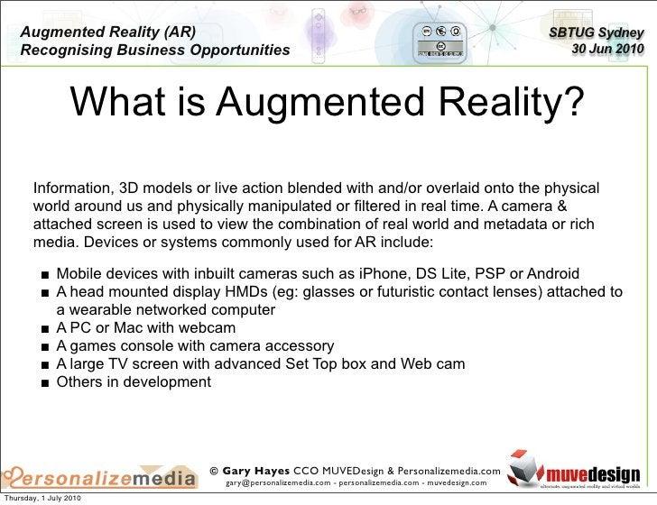 Augmented Reality (AR)                                                                             SBTUG Sydney     Recogn...
