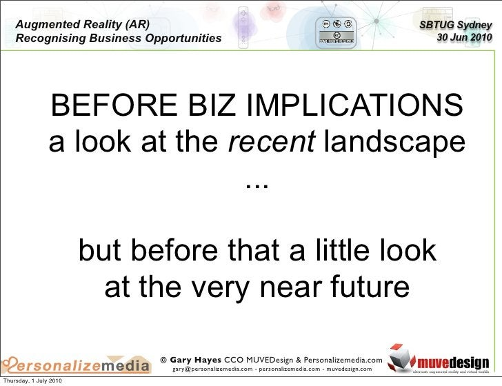 Augmented Reality (AR)                                                                          SBTUG Sydney     Recognisi...