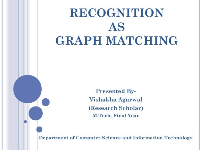 RECOGNITION AS GRAPH MATCHING Presented By- Vishakha Agarwal (Research Scholar) M.Tech, Final Year Department of Computer ...
