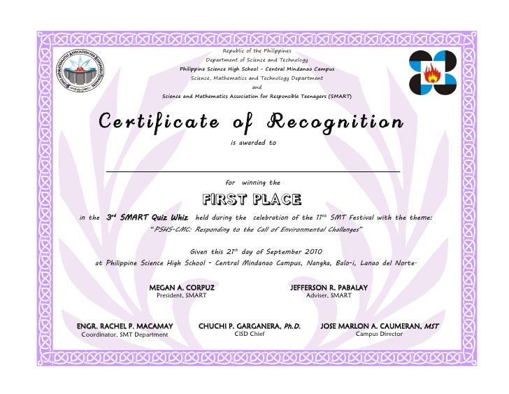 Recognition Participant 1st Place. Republic Of The Philippines ...  First Place Certificate
