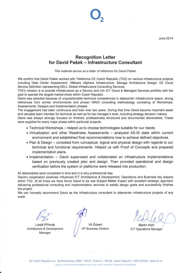 Recognition letter telefonica o2 czech republic june 2014 recognition letter for david paek infrastructure consultant this materia serves as a altavistaventures Choice Image