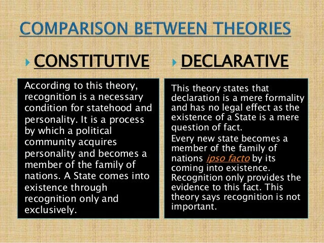 declaratory theory This article examines the declaratory theory of law and defends it from the most prominent modern attack on it it explains that the real declaratory theory is not the caricature of it criticized.