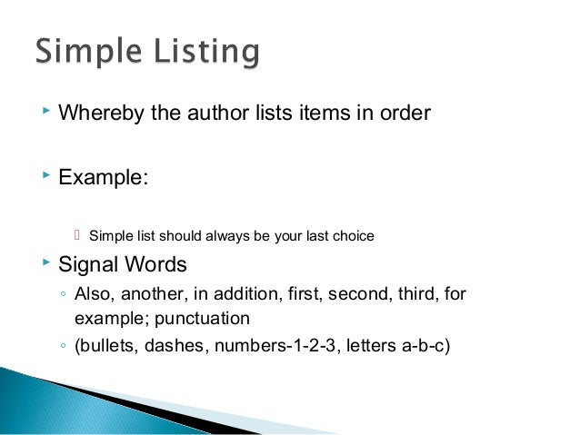 Recognizing patterns of organization 1 – Simple Listing Words