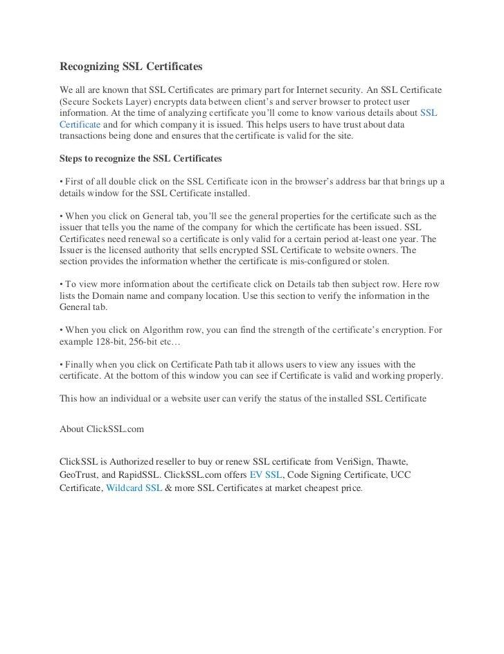 Recognizing Ssl Certificates