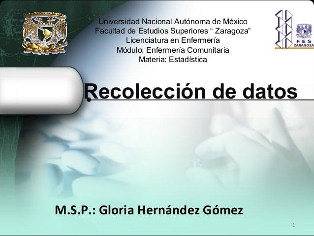 1 Recolección de datos M.S.P.: Gloria Hernández Gómez Universidad Nacional Autónoma de México Facultad de Estudios Superio...