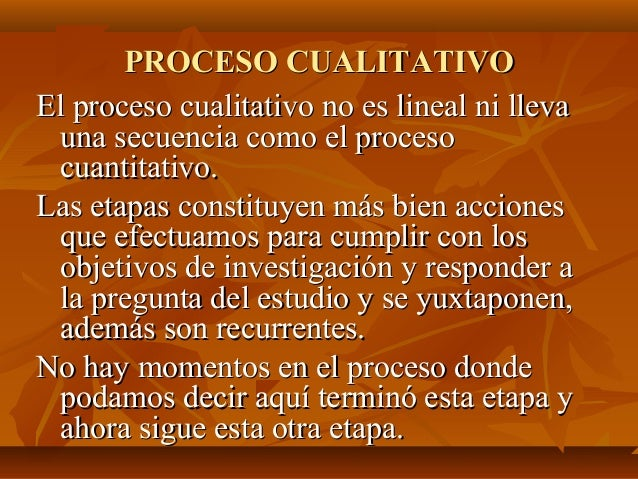 PROCESO CUALITATIVOPROCESO CUALITATIVO El proceso cualitativo no es lineal ni llevaEl proceso cualitativo no es lineal ni ...