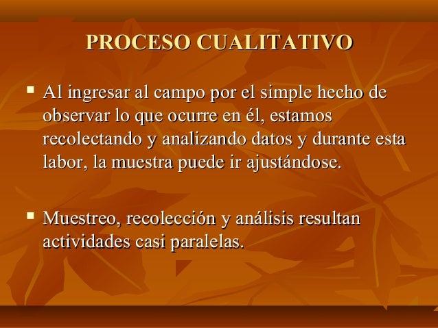 PROCESO CUALITATIVOPROCESO CUALITATIVO  Al ingresar al campo por el simple hecho deAl ingresar al campo por el simple hec...