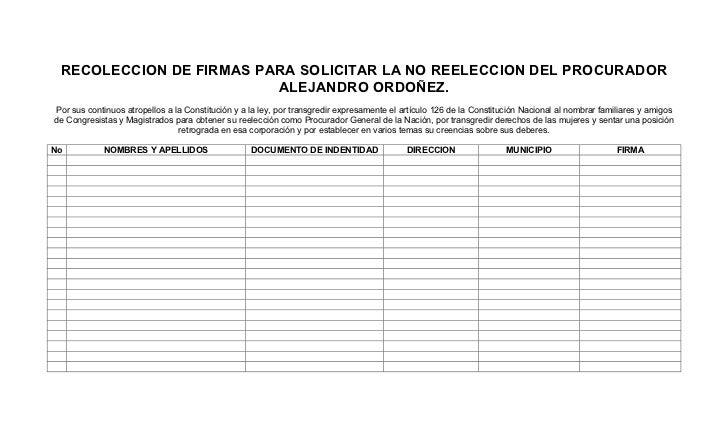 RECOLECCION DE FIRMAS PARA SOLICITAR LA NO REELECCION DEL PROCURADOR                         ALEJANDRO ORDOÑEZ.Por sus con...