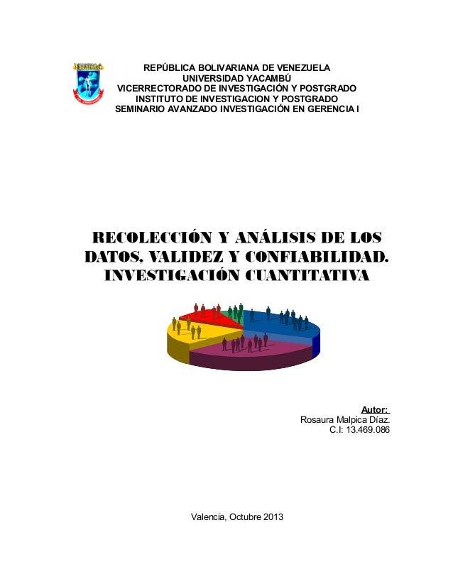 REPÚBLICA BOLIVARIANA DE VENEZUELA UNIVERSIDAD YACAMBÚ VICERRECTORADO DE INVESTIGACIÓN Y POSTGRADO INSTITUTO DE INVESTIGAC...