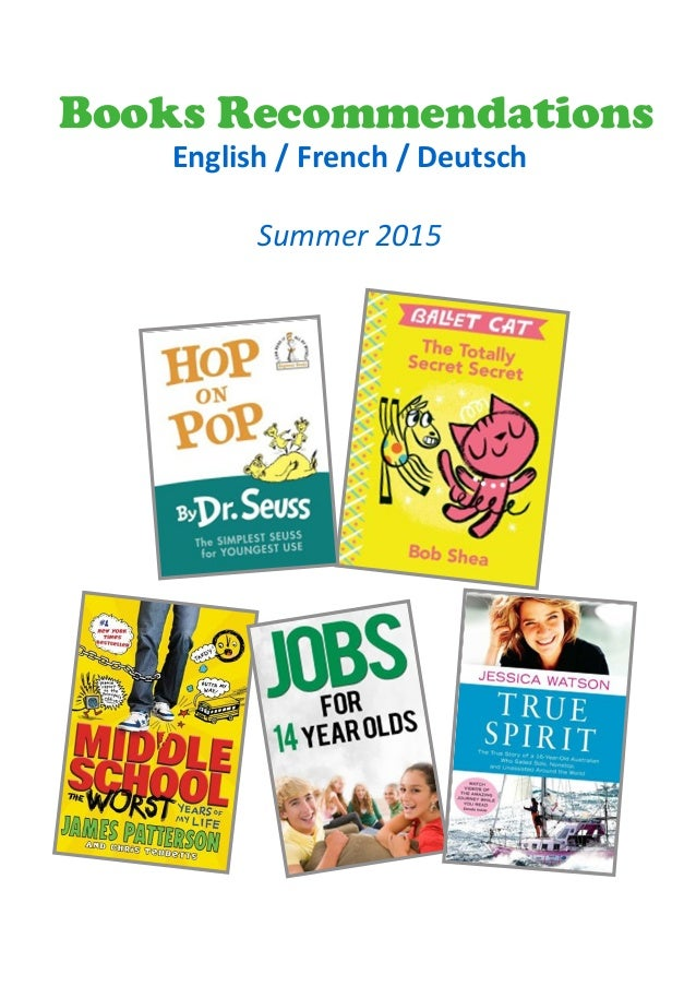 Books Recommendations English / French / Deutsch Summer 2015