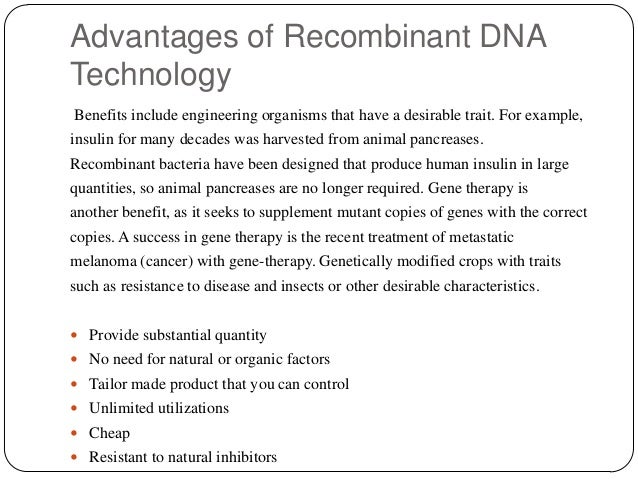 recombinant dna technology and its applications pdf